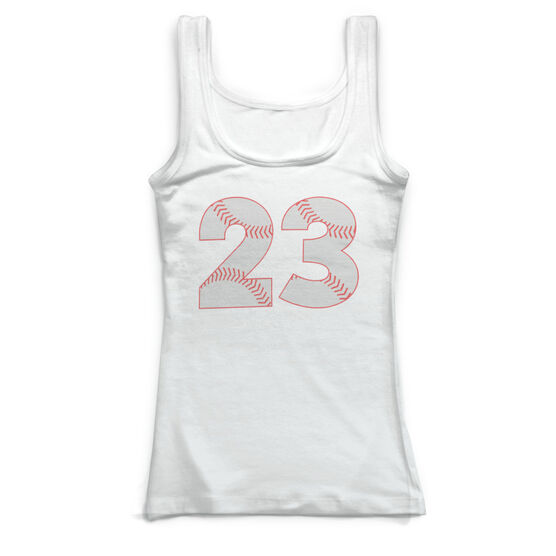 d86458e1dbd7b Images. Baseball Vintage Fitted Tank Top - Number Stitches