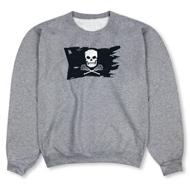 Guys Lacrosse Crew Neck Sweatshirt - Lax Pirate Flag