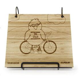 Engraved Bamboo Wood BibFOLIO Tri Chick