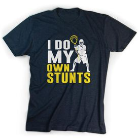 Guys Lacrosse Short Sleeve T-Shirt - I Do My Own Stunts with Neon Yellow