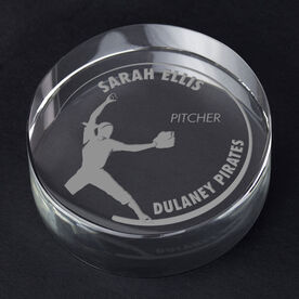 Softball Personalized Engraved Crystal Gift - Customized Pitcher