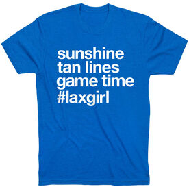 Girls Lacrosse Short Sleeve T-Shirt - Sunshine Tan Lines Game Time