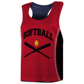 Softball Racerback Pinnie - Softball With Crossed Bats