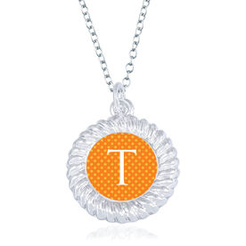 Personalized Braided Circle Necklace - Polka Dot Initial