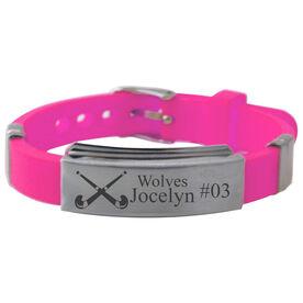 Personalized Field Hockey Crossed Sticks Silicone Bracelet