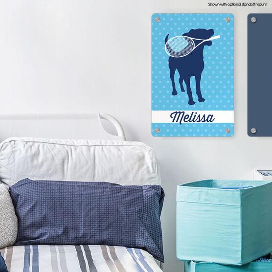 "Tennis Aluminum Room Sign Personalized Tennis Dog (18"" x 12"")"