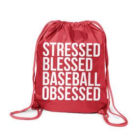 Baseball Sport Pack Cinch Sack - Stressed Blessed Baseball Obsessed
