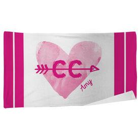 Cross Country Beach Towel Watercolor Heart Arrow