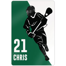 "Lacrosse Aluminum Room Sign (18""x12"") Personalized Lacrosse Player Silhouette"