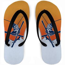 Skiing Flip Flops Crossed Skis Sundown