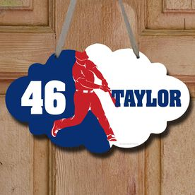 Baseball Cloud Sign Personalized Batter Silhouette