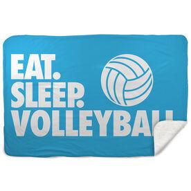 Volleyball Sherpa Fleece Blanket - Eat. Sleep. Volleyball. Horizontal
