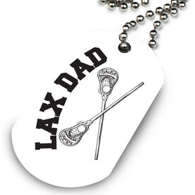 Lacrosse Printed Dog Tag Necklace Lacrosse Crossed Sticks Lax Dad