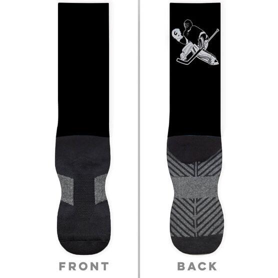 Hockey Printed Mid-Calf Socks - Goalie