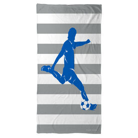 Soccer Beach Towel Stripes with Guy Player