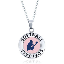 Softball Circle Necklace - Catcher Silhouette