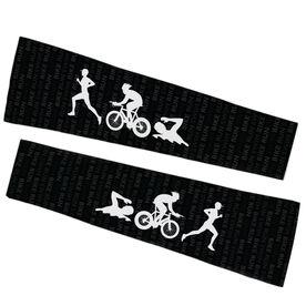 Triathlon Printed Arm Sleeves - Swim Bike Run Male Icons