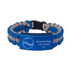 Baseball Paracord Engraved Bracelet - 3 Lines/Blue