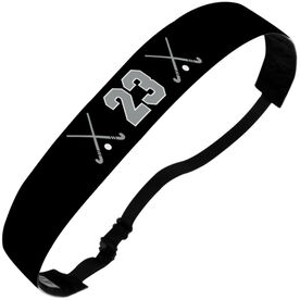 Field Hockey Julibands No-Slip Headbands - Crossed Sticks and Number