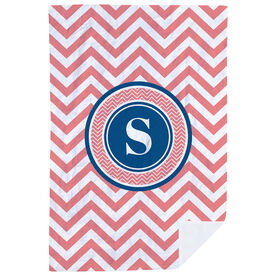 Personalized Premium Blanket - Single Letter Monogram with Chevron