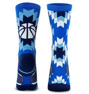 Basketball Woven Mid-Calf Socks - Aztec (Blue)