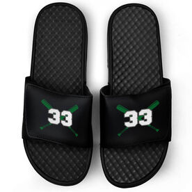Baseball Black Slide Sandals - Crossed Bats with Numbers