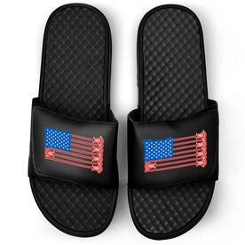 Guys Lacrosse Black Slide Sandals - USA Lacrosse Flag