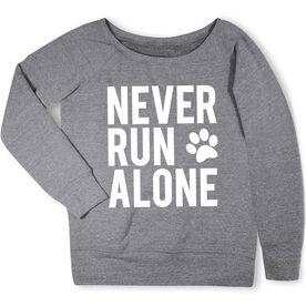 Running Fleece Wide Neck Sweatshirt - Never Run Alone (Bold)