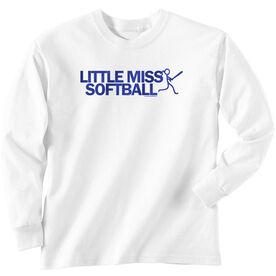 Softball Tshirt Long Sleeve Little Miss Softball
