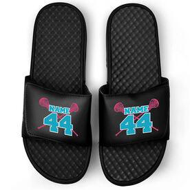 Girls Lacrosse Black Slide Sandals - Crossed Sticks with Name & Number