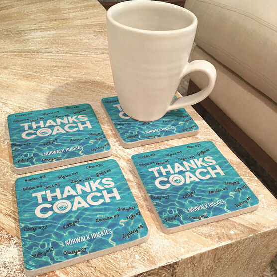 Swimming Stone Coasters Set of Four - Coach (Autograph)