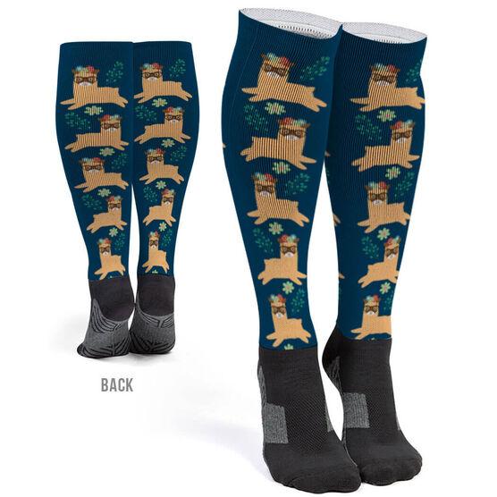 168b7fc55 Images. Printed Knee-High Socks - Intellectual Llama