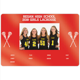 """Girls Lacrosse 18"""" X 12"""" Aluminum Room Sign - Team Photo With Roster"""
