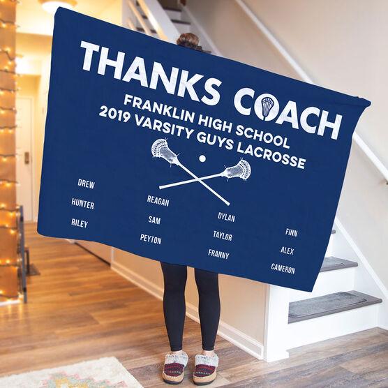 Guys Lacrosse Premium Blanket - Thanks Coach (Horizontal)
