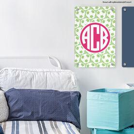 "Soccer 18"" X 12"" Aluminum Room Sign Monogram with Soccer Ball Pattern"