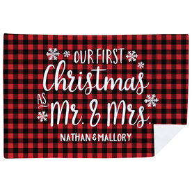Personalized Premium Blanket - Our First Christmas As Mr. & Mrs.