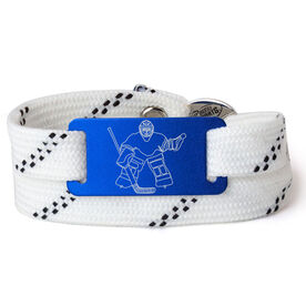 Adjustable Hockey Lace Bracelet With Slider - Goalie