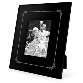 Guys Lacrosse Engraved Picture Frame - Border