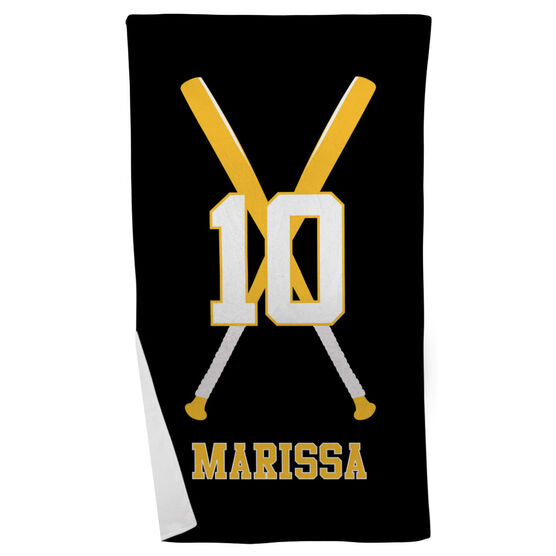 Softball Beach Towel Personalized Player with Crossed Bats