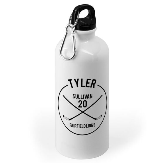 Hockey 20 oz. Stainless Steel Water Bottle - Personalized Player Name With Crossed Sticks