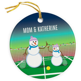 Tennis Porcelain Ornament Snowman Mother & Child