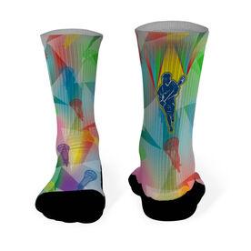 Lacrosse Printed Mid Calf Socks Neon Prism