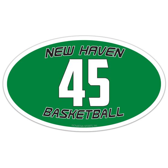 Basketball Oval Car Magnet Team Name and Number