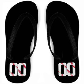 Baseball Flip Flops First Stitches Jersey Number