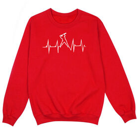 Softball Crew Neck Sweatshirt - Softball Heartbeat Batter