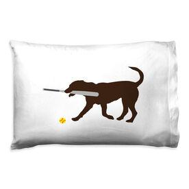 Softball Pillowcase - Mitts The Softball Dog