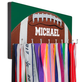 Football Hooked on Medals Hanger - Close Up Football Image