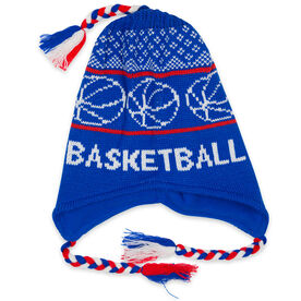 Fleece Lined Knit BASKETBALL Hat Neon Blue/Red