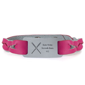 Softball Leather Bracelet with Engraved Plate - Personalized Crossed Bats