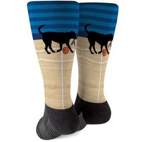Basketball Printed Mid-Calf Socks - Baxter The Basketball Dog
